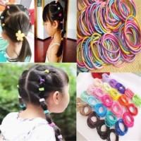 100Pcs Set Karet Rambut Elastis Warna warni untuk Anak Perempuan