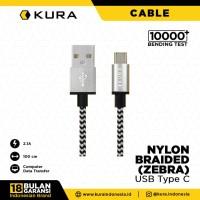 KURA Nylon Braided Cable ( Zebra ) - Kabel Data USB Type C
