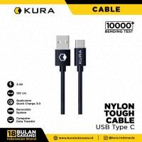 KURA Nylon Tough Cable - Kabel Data USB Type C