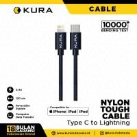 KURA Nylon Tough Cable - Kabel Data USB Type C to Lightning