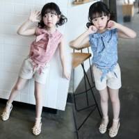 Setelan Baju Anak Perempuan Motif Bunga dan Celana Pendek Berkualitas