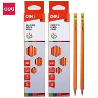 Deli E37000 Pensil Kayu- 2B w/eraser- 2 BOX isi 24 Pcs - Orange
