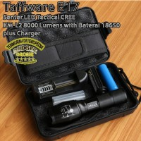 Senter LED Tactical CREE XM-L2 8000 Lumens with Baterai plus charger