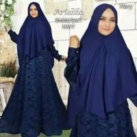 Gamis Syari Brokat Maxi Dress Muslimah Sarii Khimar Pet Zaskia Sungkar