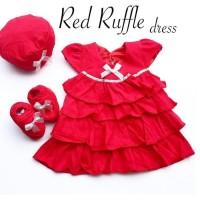 baju dres anak bayi perempuan 0 1 2 3 4 5 6 bulan dress merah + topi