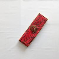 Kain Pantai Bali / Sarong V.101 Rumbai Merah - Bunga Hijau Tua