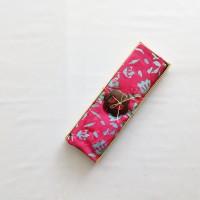 Kain Pantai Bali / Sarong V.107 - Pink Bunga Biru Muda Mix HIjau Muda