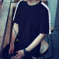 Baju kaos pria lengan pendek kerah bulat gaya korea