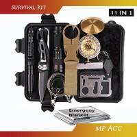 Peralatan Survival Kit Multifungsi 11 in 1 SOS Kemping Berburu