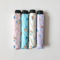 Payung lipat 3 bunga daun biru / vintage flower / anti UV / GRC - 3712