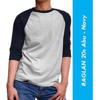 Tshirt/ Kaos Polos / Raglan / Cotton 20s / Ukuran M