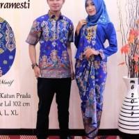 couple baju batik moslem blue colour serasi