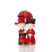 Happy China Boy & Girl Couple Figurine Umbrella