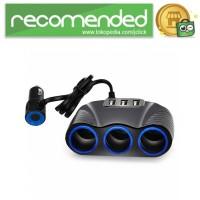 USB Car Charger 3 Port 3.1A dengan 3 Cigarette Plug 120W - RB4 - Hitam