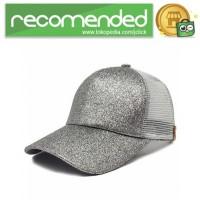 Topi Baseball Glitter Ponytail Cap - BQ126 - Gray