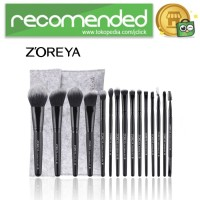 Zoreya Brush Make Up 15 Set dengan Pouch - Hitam