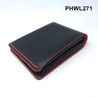 Dompet kulit asli design unik hitam merah simple wallet - PHWL271