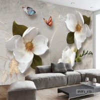 Wallpaper Dinding Custom Tema Bunga- Wallpaper Custom Murah 3D