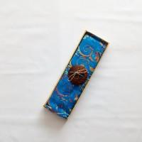 Kain Pantai Bali / Sarong V.117 - Biru Tua Bunga Mix Coklat Krem
