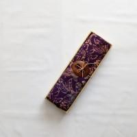 Kain Pantai Bali / Sarong V.115 - Ungu Bunga Coklat Krem