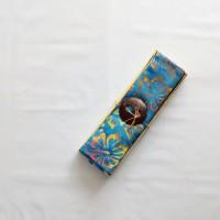 Kain Pantai Bali / Sarong V.118 - Biru Vintage Mix Kuning Merah coklat