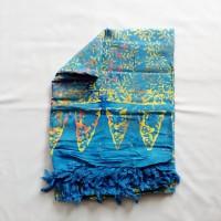 Kain Pantai Bali / Sarong V.116 -Biru Vintage Bunga Mix Kuning Coklat