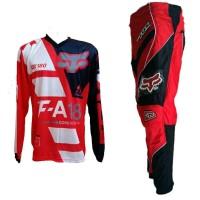 Terbaru Fox Merah Jersey Celana Setelan Trail Cross Motocross Termurah