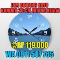 Jam Dinding Kayu Bundar Custom Disain Sendiri CL9504