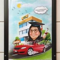 Karikatur 1 wajah dengan cetak + bingkai 21x30 cm