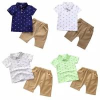 Setelan baju bayi/anak kaos t-shirt dan celana pendek bahan katun