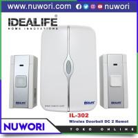 Bel Pintu Idealife IL-302 Wireless Doorbell DC Baterai 2 Remot