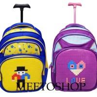 Tas Lego Troli Trolley Ransel Pixel SD Powa Tas Sekolah Tas Backpack
