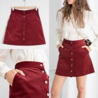 [Gults] W51 Corduroy Button Skirt Rok Kancing Depan Korduroi Mini