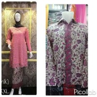 Couple Brokat Baju KurungTunik Warna Dusty Pink Batik Lengan Panjang