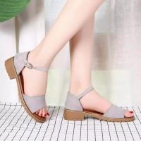 Adelioshoes- Sandal Wanita Wedges / Sandal Flats Gesper Adl840 Abu