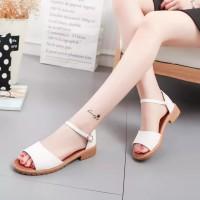 Adelioshoes- Sandal Wanita Wedges / Sandal Flats Gesper Adl840 Putih