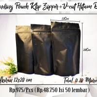 POUCH - Pouch Full Aluminium Foil Black Zipper Klip 12 x 20 cm DOFF
