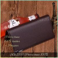 Dompet pria wanita model panjang asli kulit 3 lipat kartu ID PL3019 - Cokelat