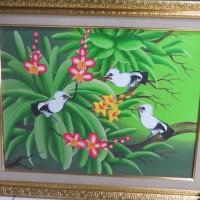 Lukisan burung jalan dan bunga anggrek