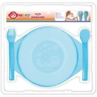 NINIO Piring Tempat Makan Plastik dgn Sendok Garpu - F367 New
