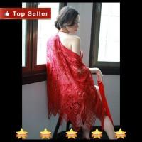Kimono Baju Tidur Premium Bahan Cotton Polyester Warna Hitam Merah