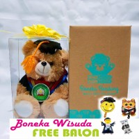 Boneka wisuda Bear beruang 18cm tambah box mika
