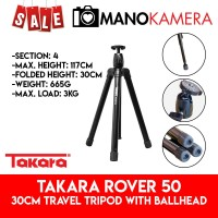 Takara Rover 50 Lightweight Travel Tripod with Ballhead Free Bag