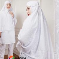 Bergo Putih Bahan Katun Jepang Motif Timbul / Jilbab Instan