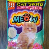 Pasir Kucing Gumpal Wangi MEOW Murah Bagus Wangi 5,5L
