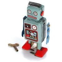 Vintage Nostalgic Wind Up Tin Clockwork Spring Robot Reminiscence Toy