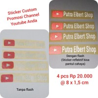 Sticker Decal Cutting Vinyl Reflektif Custom Promosi Youtube Channel