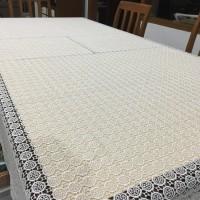 taplak meja makan putih bordir premium elegan persegi panjang 225x15