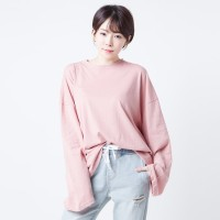 Blouse Polos Lengan Panjang Merongshop Pink