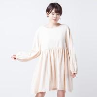 Dress Cotton Puff Merongshop Beige